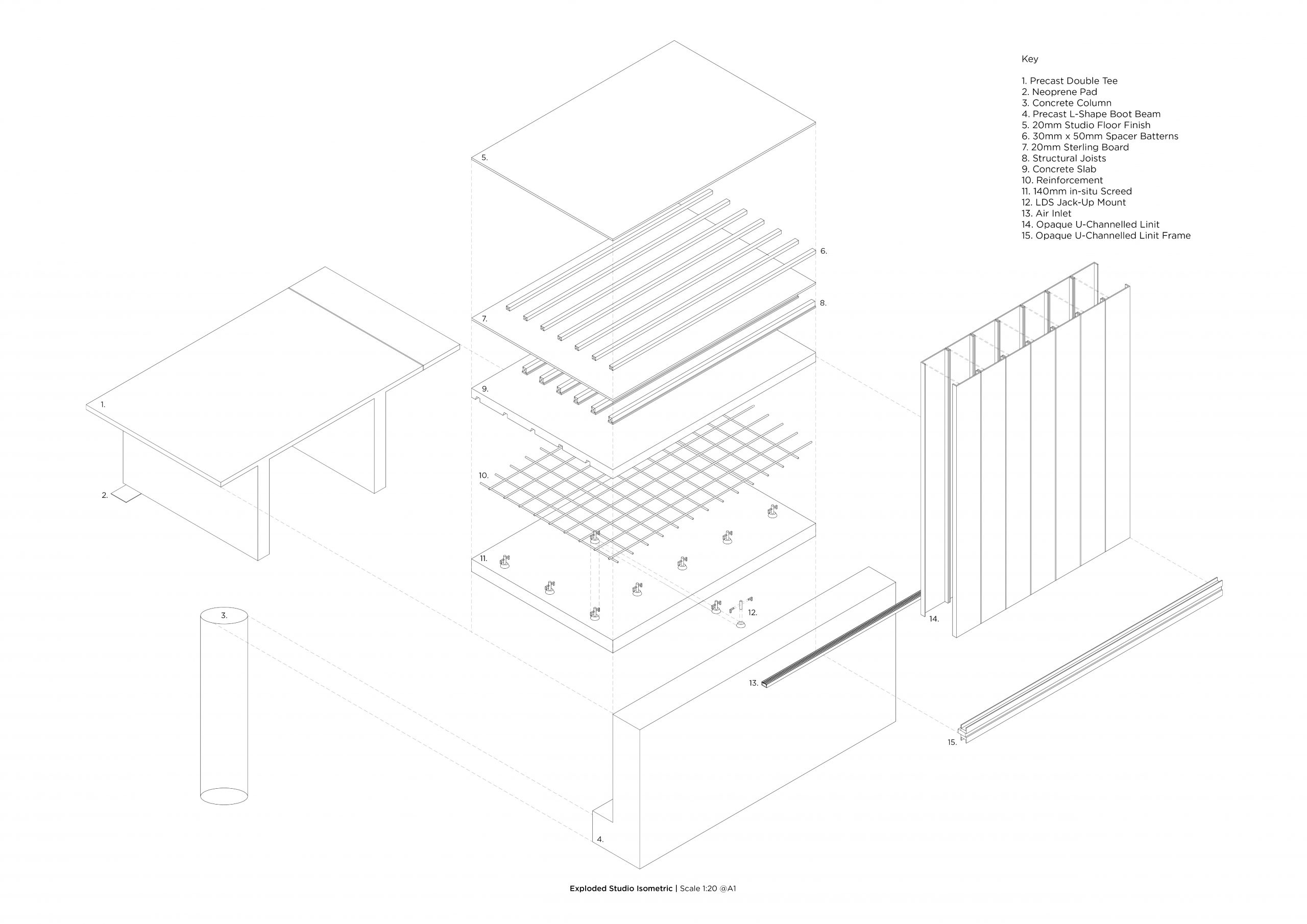 Exploded Studio Isometric   Scale 1:20 @A1 Image