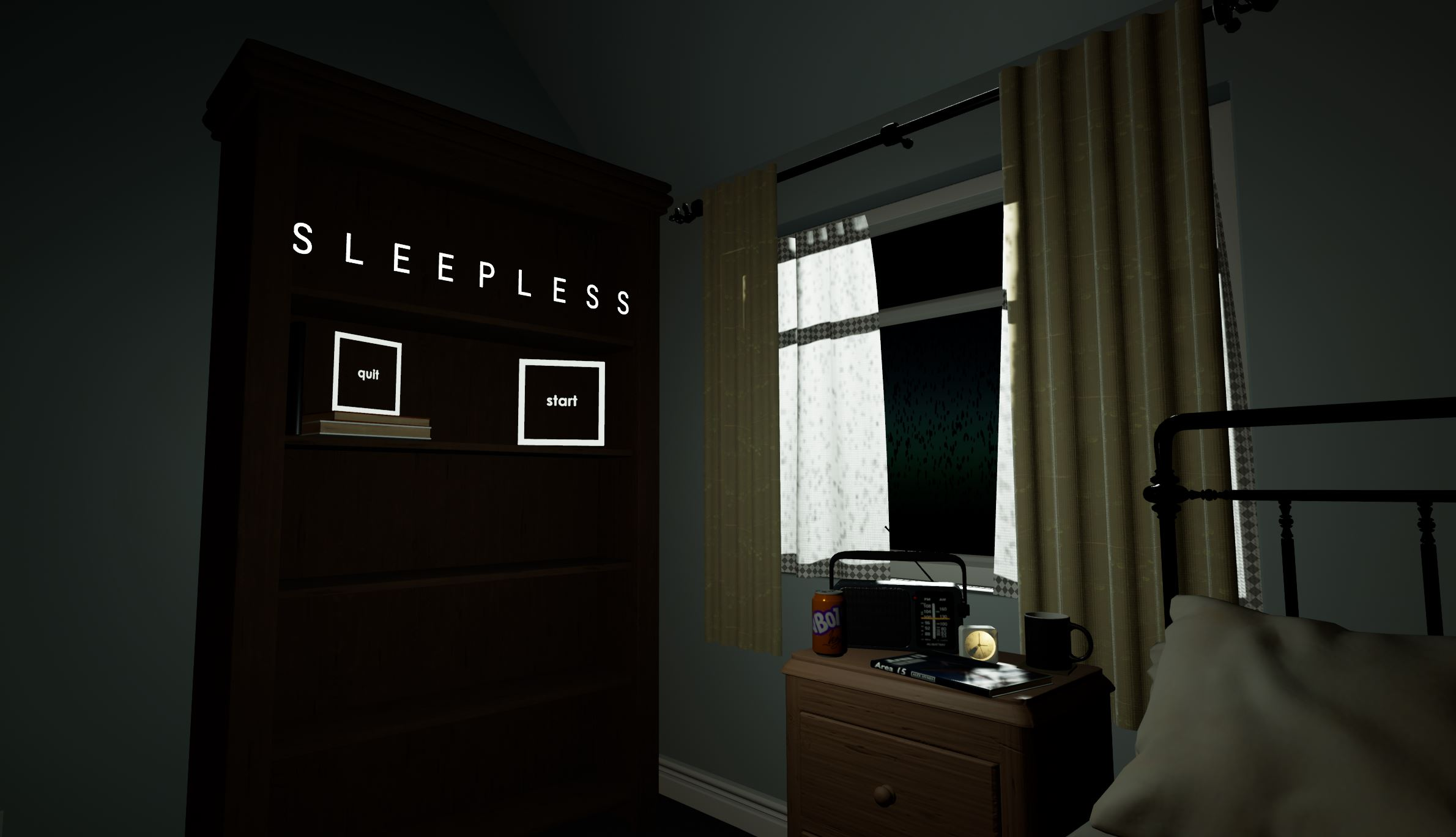 Sleepless: VR Project - Interactive Start Screen Image