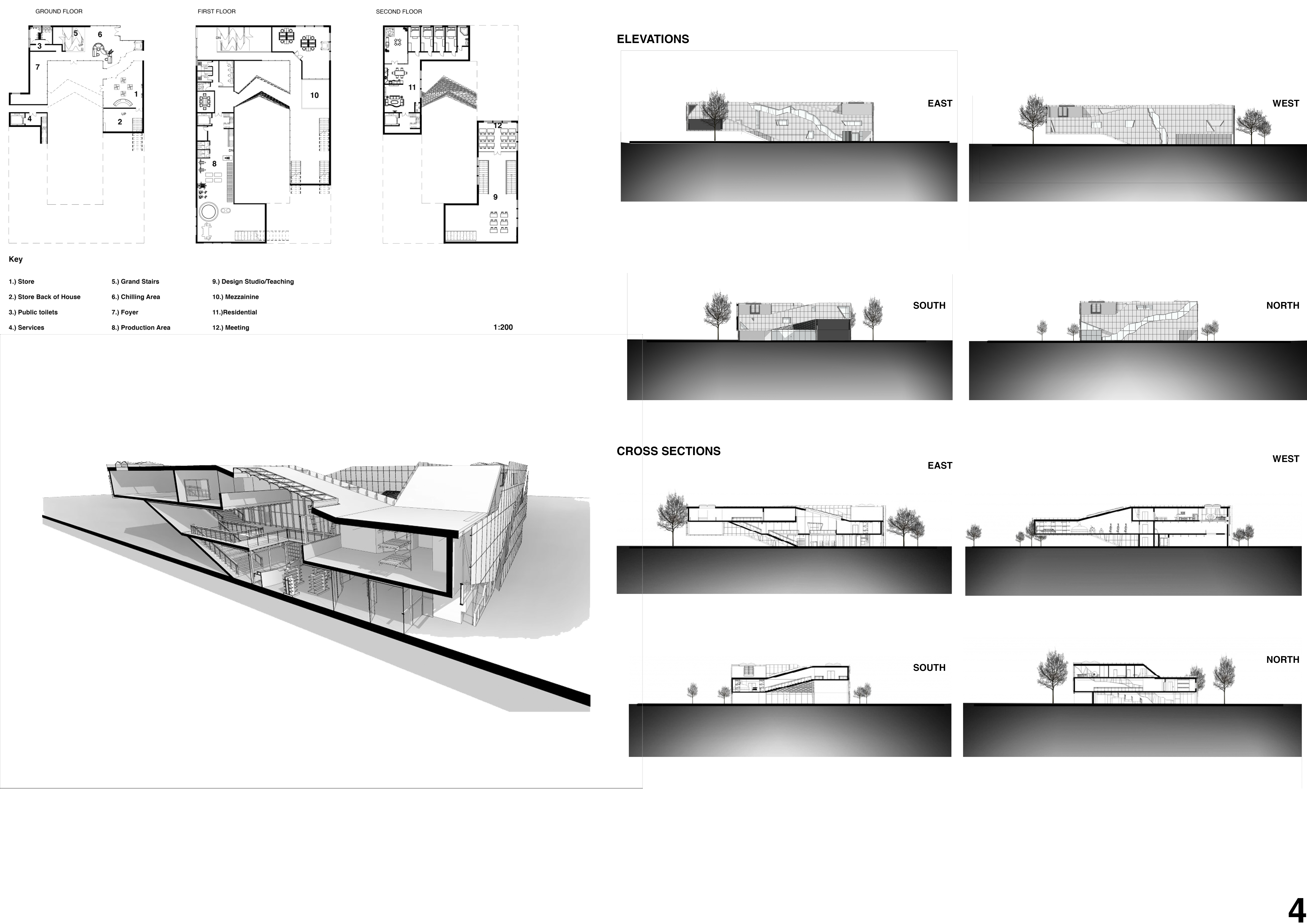 Floor Plans, Cross sections, Elevations and Axonometric Image