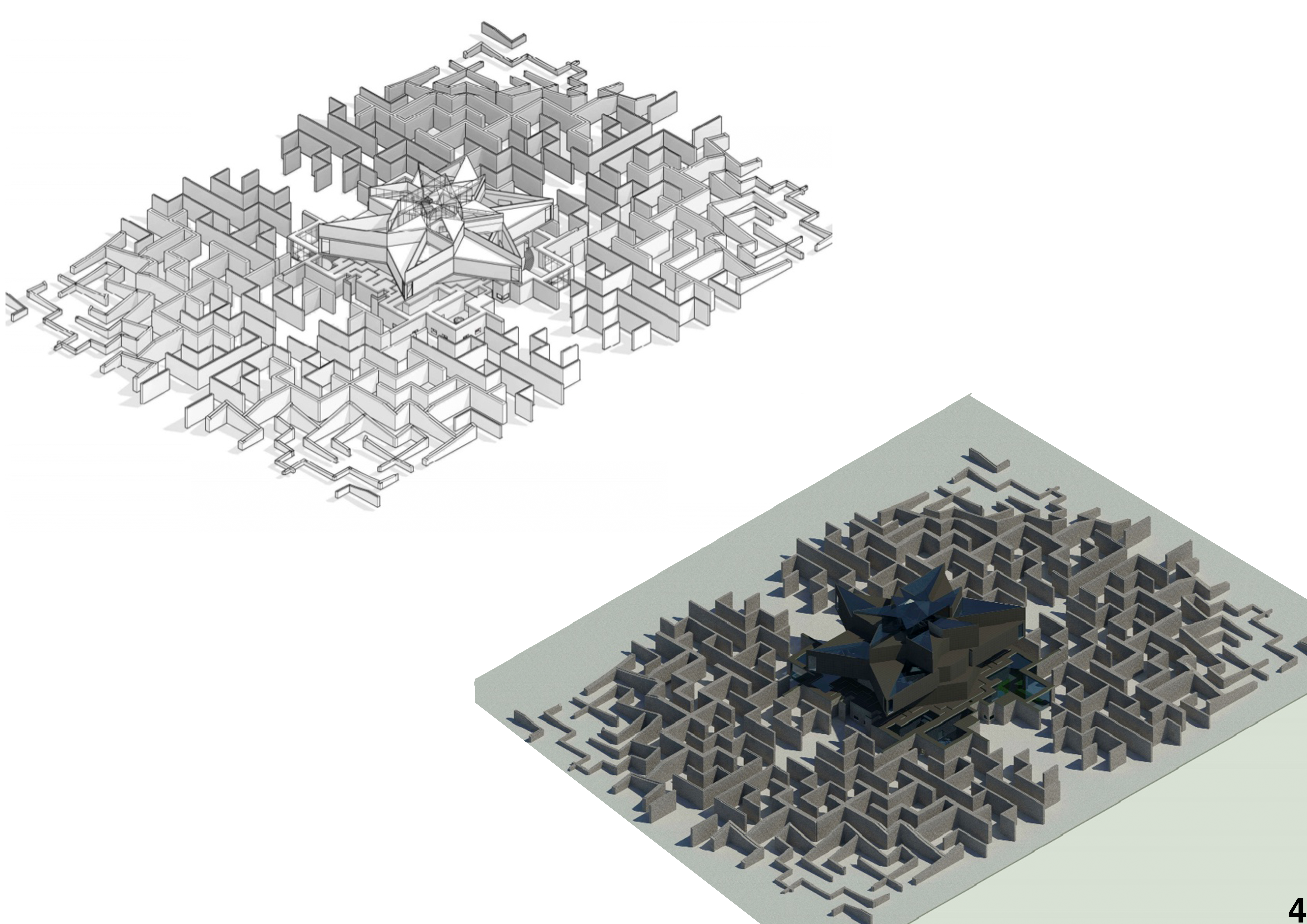 Axonometric line and realistic drawing Image