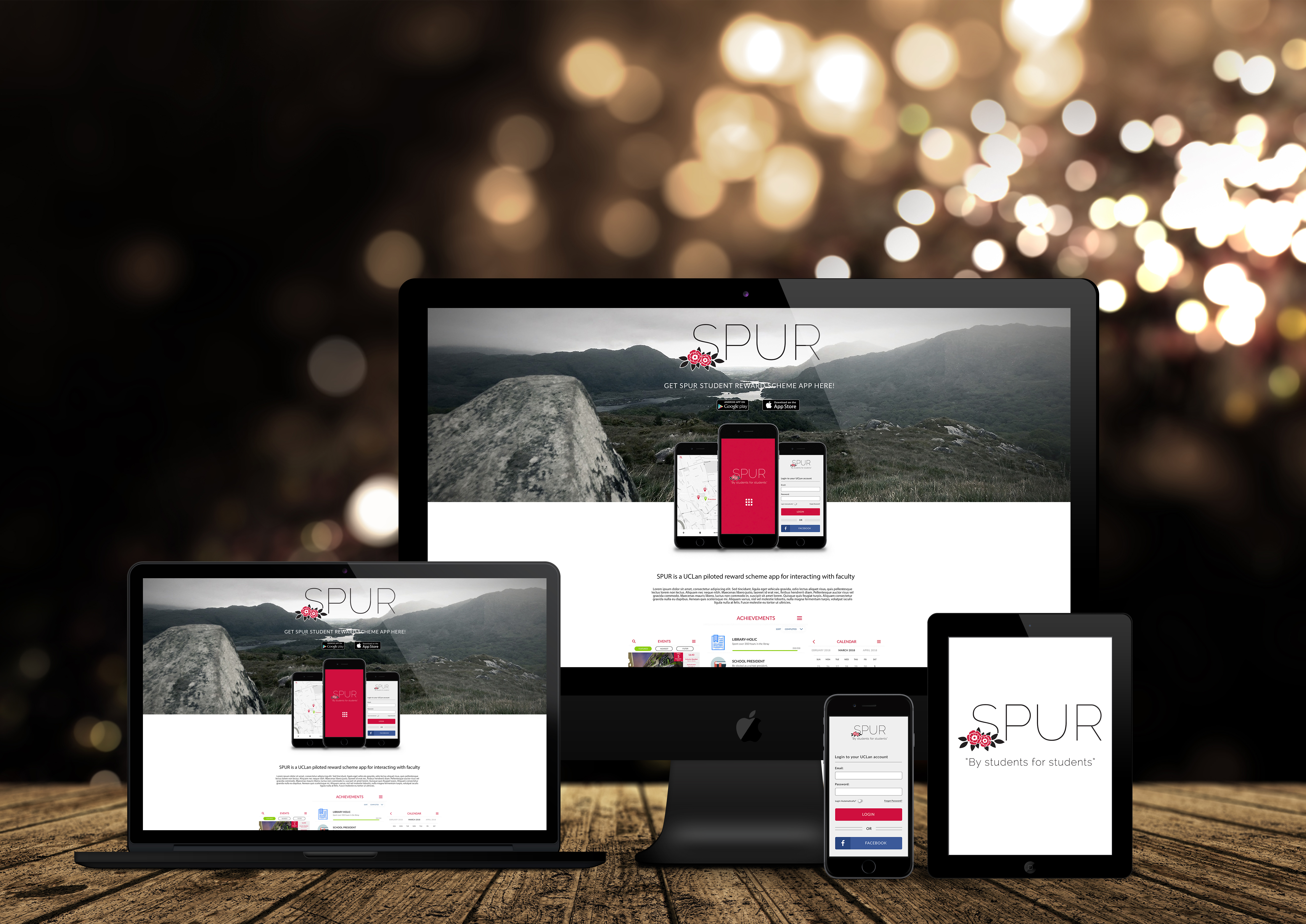 Mockups of action and launch page. Image