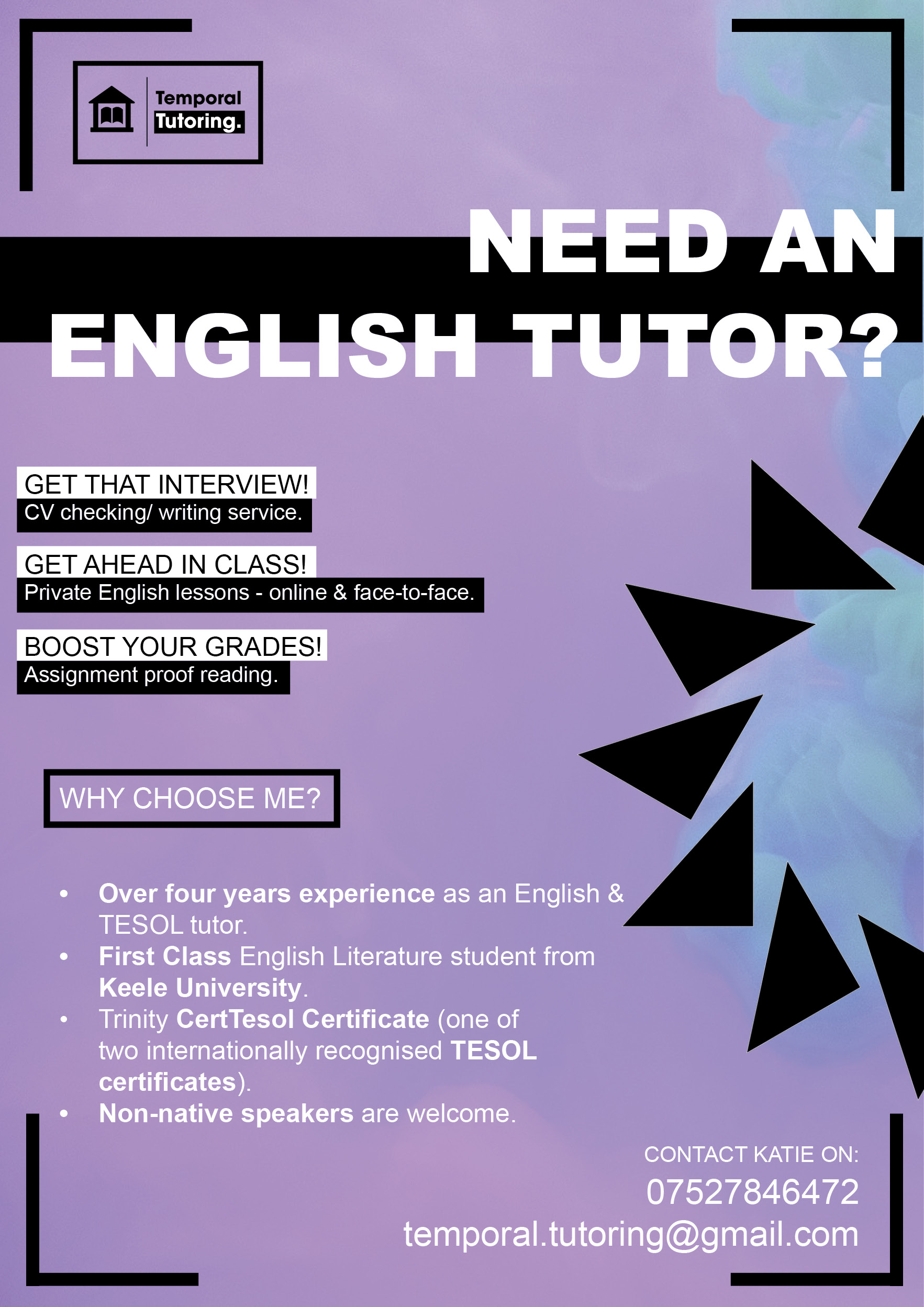 Temporal Tutoring Flyer Image